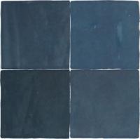 Wandtegel Revoir Paris atelier bleu marine glans 10x10